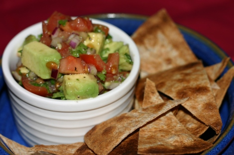 Healthy tortilla crisps and salsa