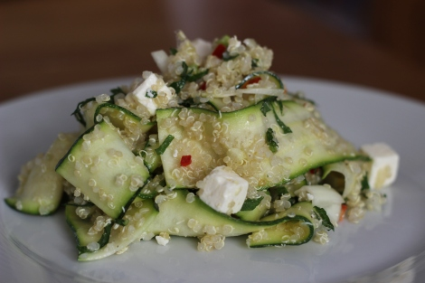 Quinoa, courgette, feta and mint salad